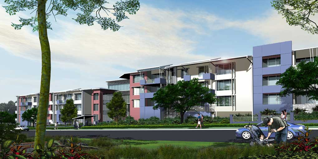 Aged Care Residential Development - Modelled in Rhino 5 , Rendered in Flamingo NXT and Postwork in Photoshop