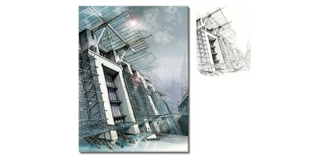 Architectural Pen and Ink Environmental Concept Sketch with Digital Rendering in Photoshop.