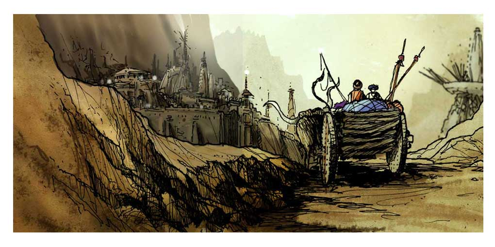 Environmental and architectural concept sketches for movies, and videogames