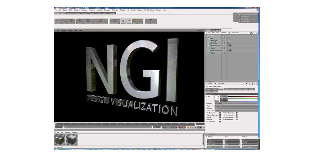 Training Software Interface Cinema 4D