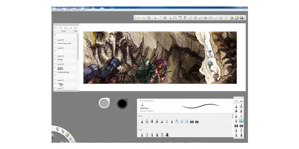 Sketchbook Pro Interface - Gaming Design Concept Sketch Visualization